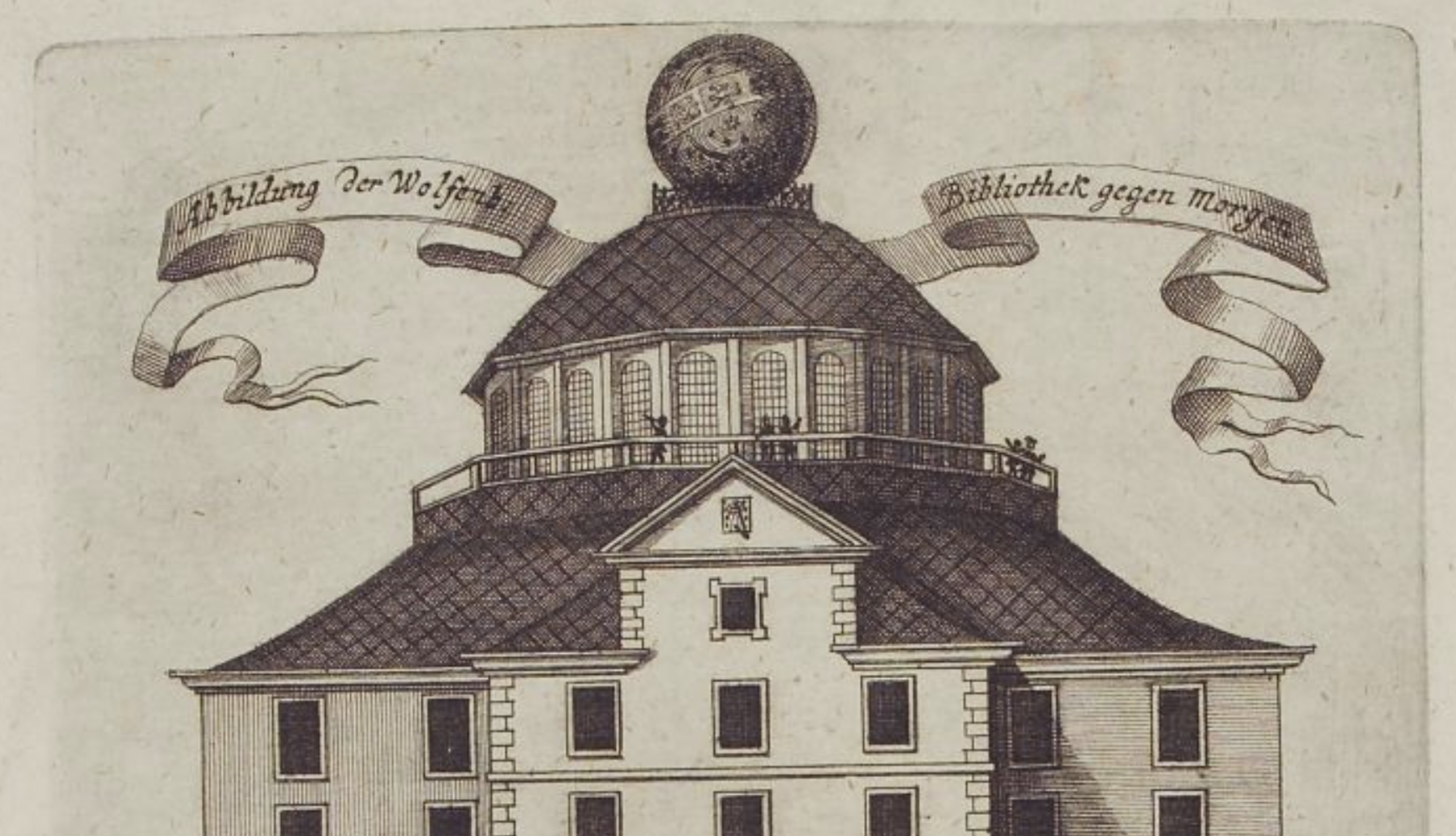An 18th-century engraving of the Bibliotheksrotunde
